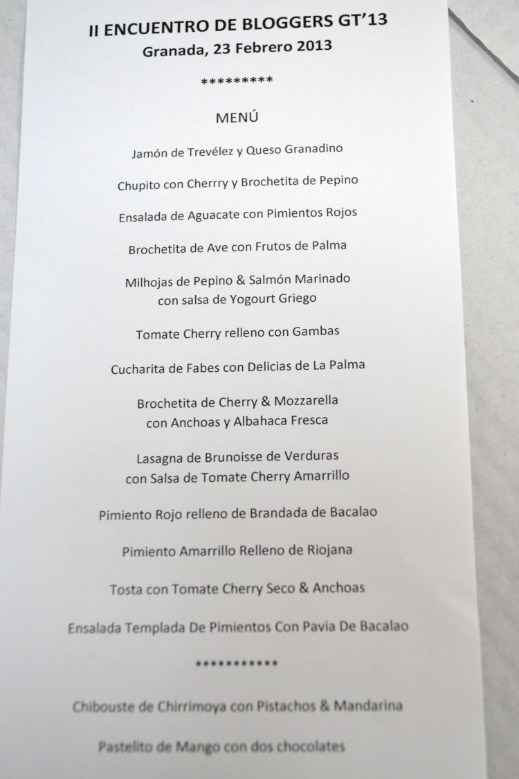 Menú del almuerzo en las instalaciones de La Palma S.C.A.